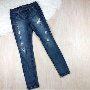 AEO Distressed Hi-Rise Jegging Skinny Jeans 4